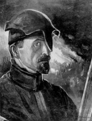 1915 self portrait with Stahlhelm.